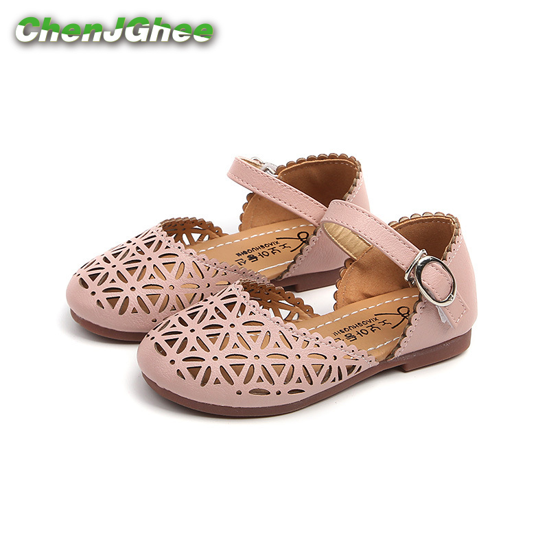 JGSHOWKITO Girls Sandals Kids Summer Shoes Cut-outs Soft Princess Toddler Big Girl Beach Sandals Toe-cap Anti-slip Breathable