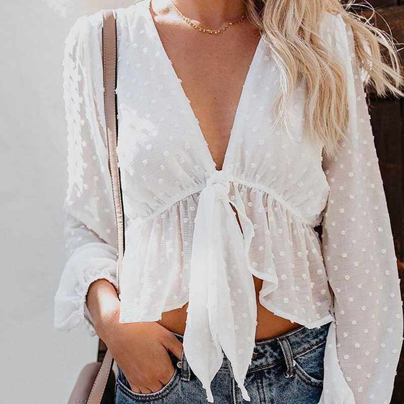 New Blouse Women Sexy Transparent White Shirt Lantern Sleeve Crop Top Polka Dot Deep V-neck Lace Up Ruffles blusas T89391