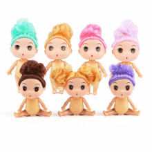 9 Cm Mini LOL Doll Playmate D-manure Dolls with Brown / Gold Bun Hair Dolls 5 Joints Moving Girl Toy Bubble for Children Gift E