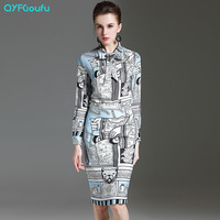 2017 Runway Fashion Sommer Frauen 2 Stück Set Blau Vintage Print lange Ärmel Shirt + Gedruckt Beiläufiges Büro Bleistiftrock Set Anzug