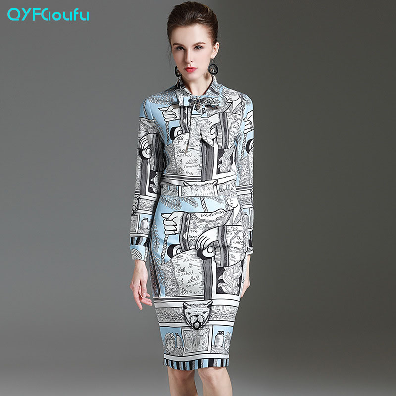 2017 Runway Fashion Summer Women 2 Piece Set Blue Vintage Print Long Sleeves Shirt + Printed Casual Office Pencil Skirt Set Suit