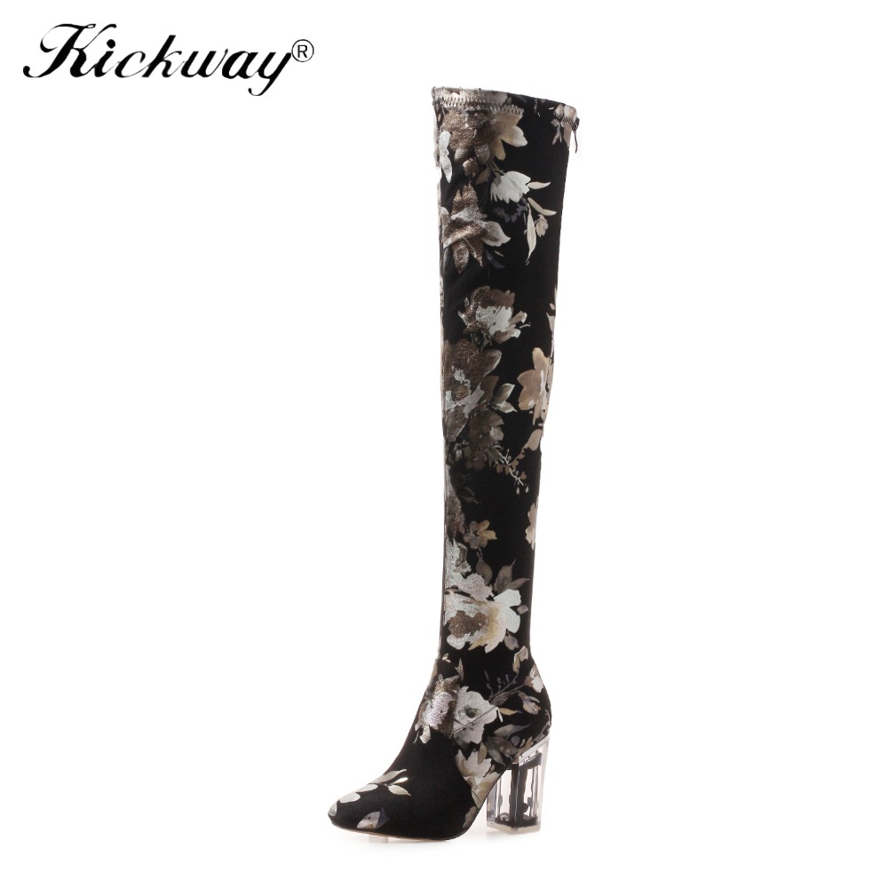 Kickway Women Pointed Toe Autumn Over The Knee Boots Female Slip On Fashion Print Stretch Plus Size Shoes Ladies Sexy High Heels women high heels plus size 32 42 sexy office pointed toe wedges shoes slip on women pumps fashion mixed color ladies shoes