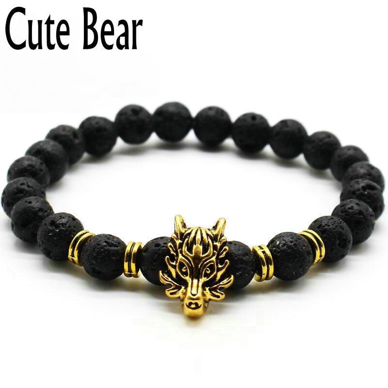 Cute Bear Brand Antique Silver Animal Wolf Head Bracelet s
