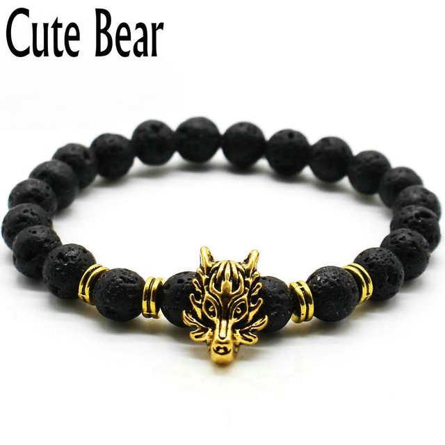 136f3239539 placeholder Urso bonito Da Marca de Prata Antigo Animal Da Cabeça do Lobo Pulseira  Homens Jóias Moda