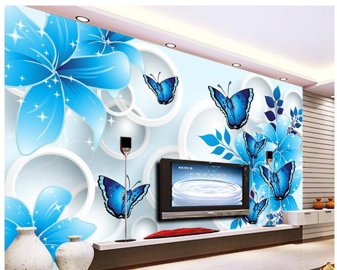 Online get cheap butterfly lilies for Butterfly mural wallpaper