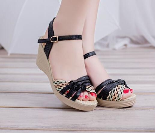 Women Sandals 2017 Summer New Open Toe Fish Head Fashion platform High Heels Wedge Sandals female shoes women shoes women sandals 2017 summer new open toe fish head fashion platform high heels ladies wedge sandals female shoes genuine leather