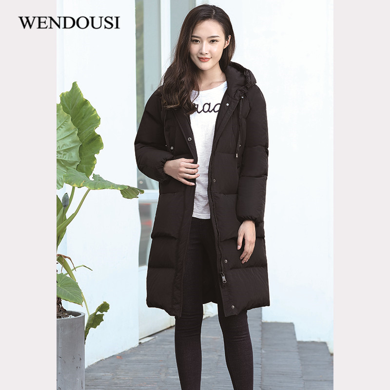 WENDOUSI New Brand Ladies Down Coats Long Winter Warm Coat Women Light Jacket Women's Hooded Casual Parka Female Jackets XY539 retro crazy horse genuine leather bag business laptop bag briefcase men leather crossbody bag shoulder messenger men tote bag
