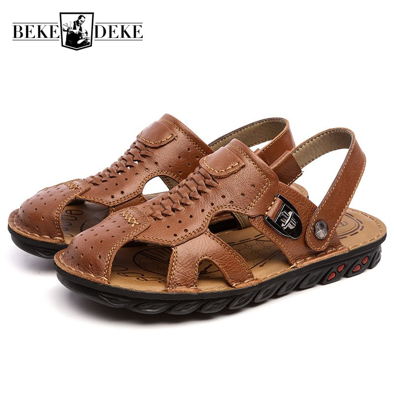 Summer Men Outside Genuine Leather Beach Slippers Retro Ankle Strap Casual Sandals Slip On Loafers Shoes Antiskid Platform Flats