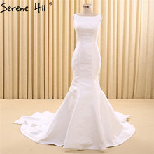 Fashion Sexy White Satin Mermaid Wedding Dresses Sleeveless Simple Back Bridal Gown Robe De Mariee 2017 Real Photo