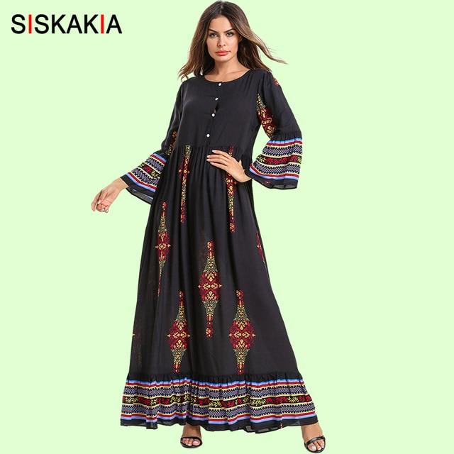 Siskakia אתני הדפסת ארוך שמלה אלגנטית בציר עגול צוואר ארוך שרוול מקסי שמלות אימפריה עטוף נדנדה מוסלמי בגדי הרמדאן