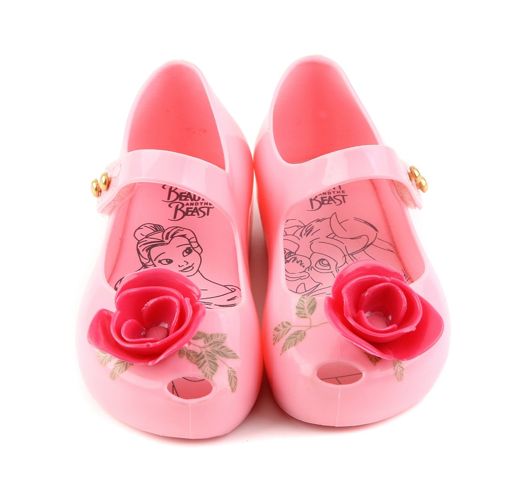 Mini Melissa  New Beauty Beast Kids Jelly Sandals Girl Princess Sandals Melissa Brand Shoes Rose Teacup