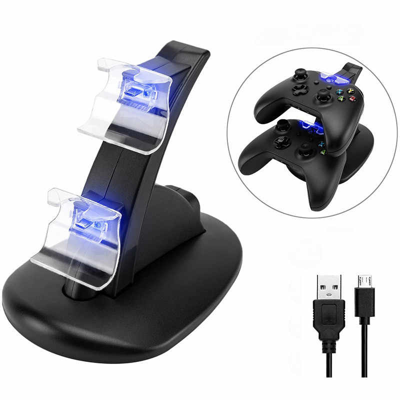 LED USB Dual Controller Charger Dock Station สำหรับ Xbox One CONTROLLER