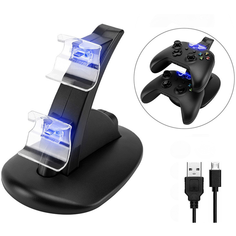 LED USB Dual Game Controller Charger Dock Station for Xbox One Gaming Controller image