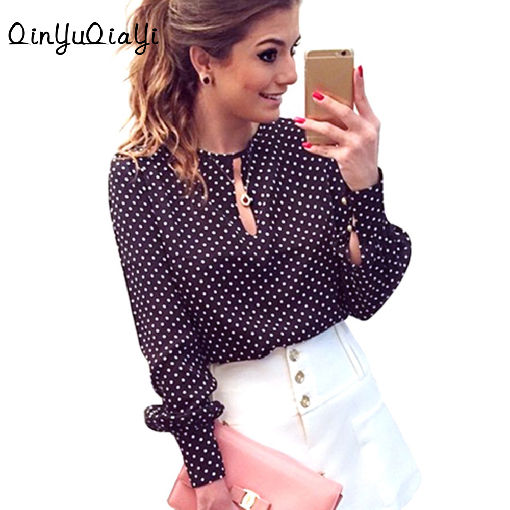 2017 Long Sleeve Slit Open Women Blouse Chiffon Hollow Sexy Casual Shirts Plus Size Women Tops Blusas Mujer Polka Dots Shirt Top
