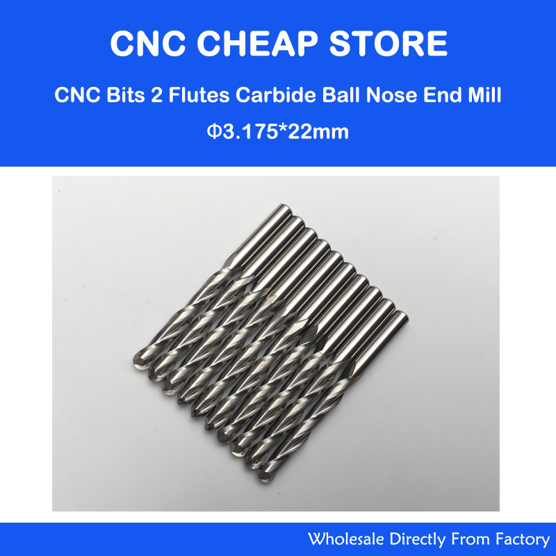 10pcs 1/8''Carbide CNC Router Bits Ball Nose End Milling Tools 3.175mm *22mm FREE SHIPPING  цены
