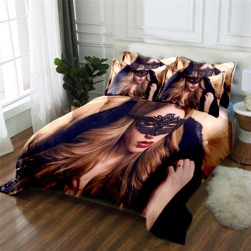 Neue Produkt sex dame 3D gedruckt 4 Stücke Bettwäschesatz Mikrofaser Bettwäsche Bettwäsche Bettbezug Set Bettlaken - 2