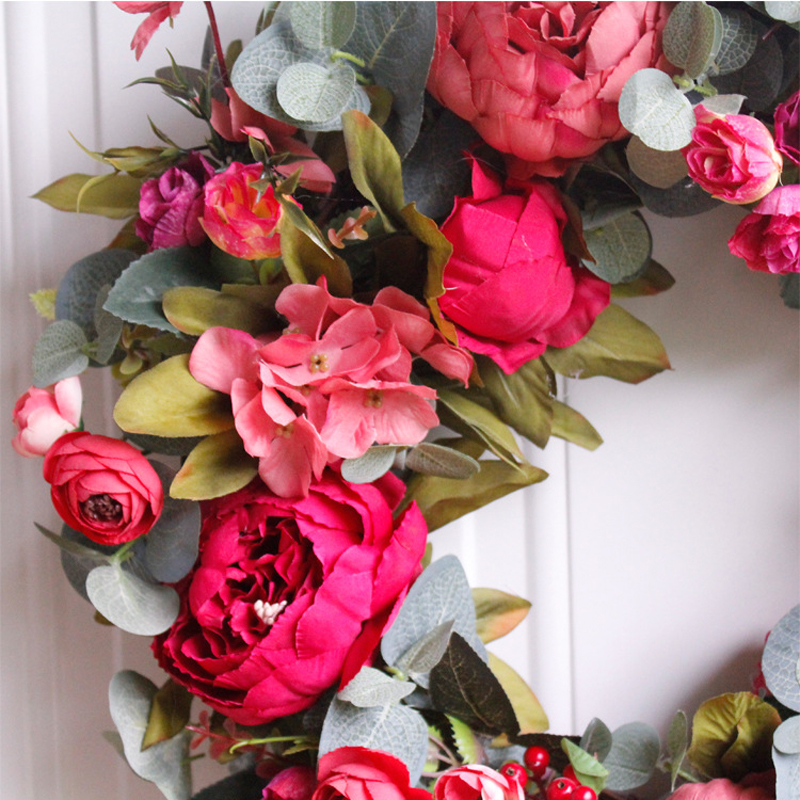 Image 4 - Autumn Peony Wreath Christmas Wreath Red Door Wreath Wall Hanging Garland Ornaments Wall Cumplea Os Decorations Farmhouse-in Wreaths & Garlands from Home & Garden