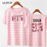ALIPOP Kpop BTS Bangtan Boys Young Forever Album Shirts Striped Cherry Blossoms Clothes Tshirt T Shirt