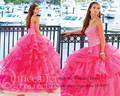 Quinceanera платья принцесса Fuschia сердечком кристалл шнуровка органза Vestido де 15 anos дебютантка платье 15 лет