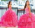 Vestidos de quinceañera baratos 2015 de la princesa Fuschia Sweetheart Crystal Lace up Organza Vestido de 15 años de Debutante Vestido de 15 años