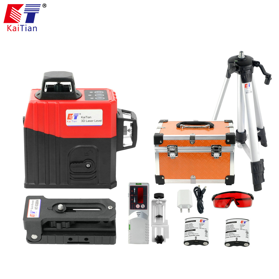 KaiTian 12 Lines 3D Laser Level Tripod Self Leveling 360 Horizontal Rotary Vertical Lasers Receiver Beam