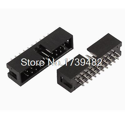 2 Pcs Straight 20 Terminals 2mm Pitch Double Row IDC Box Headers Connectors