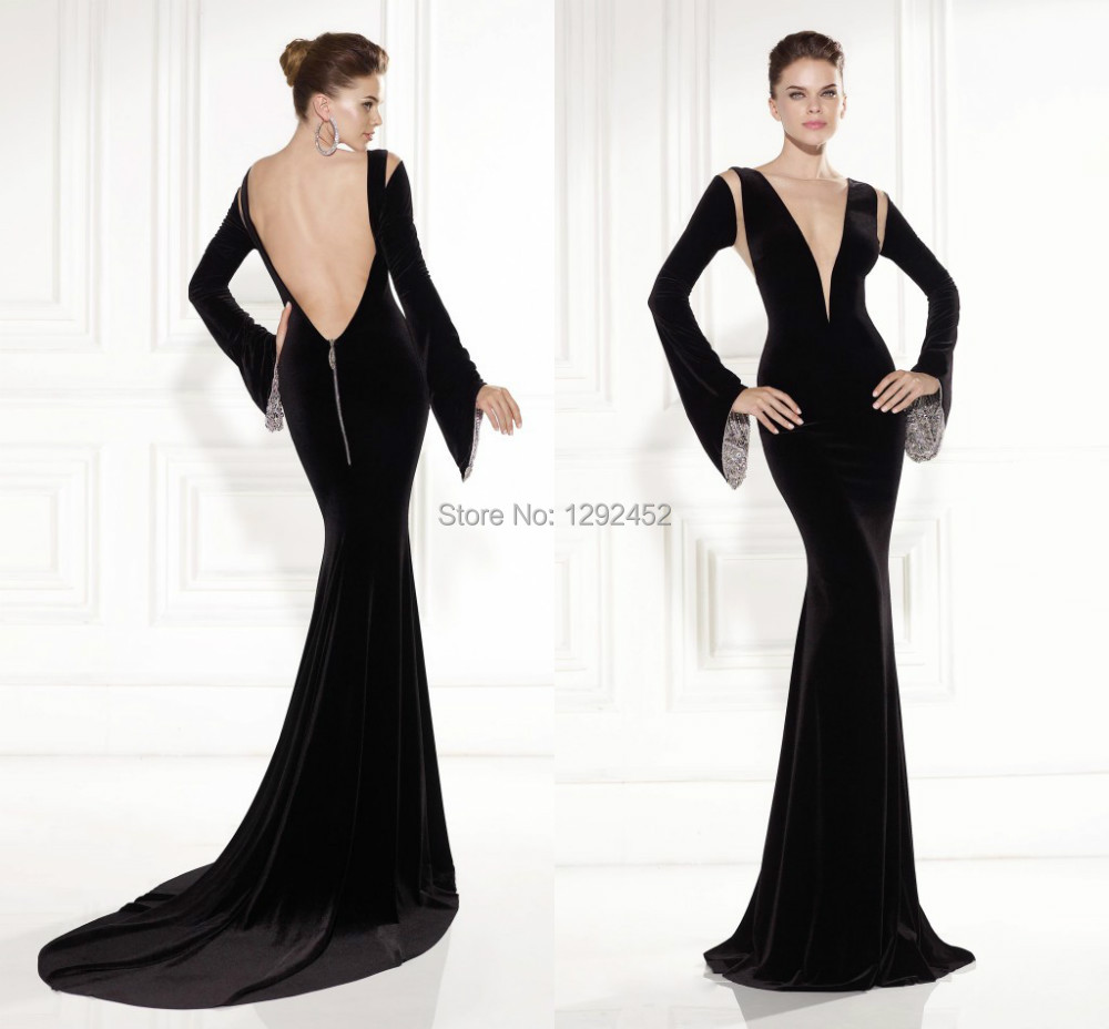 Gorgeous Tarik Ediz Dress 2015 Prom Gown Vestidos De Noiva Long Sleeves Black Design Velevet Evening Party Backless Mermaid - newdesignbridaldream store