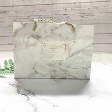 Caja pequeña de mármol Color Vintage bolsa de regalo para caramelos Kraft papel embalaje cartón Dragee bolsas de regalo suministros de embalaje
