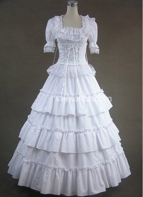 Pure white multilayer buds long Gothic Vitoria dress