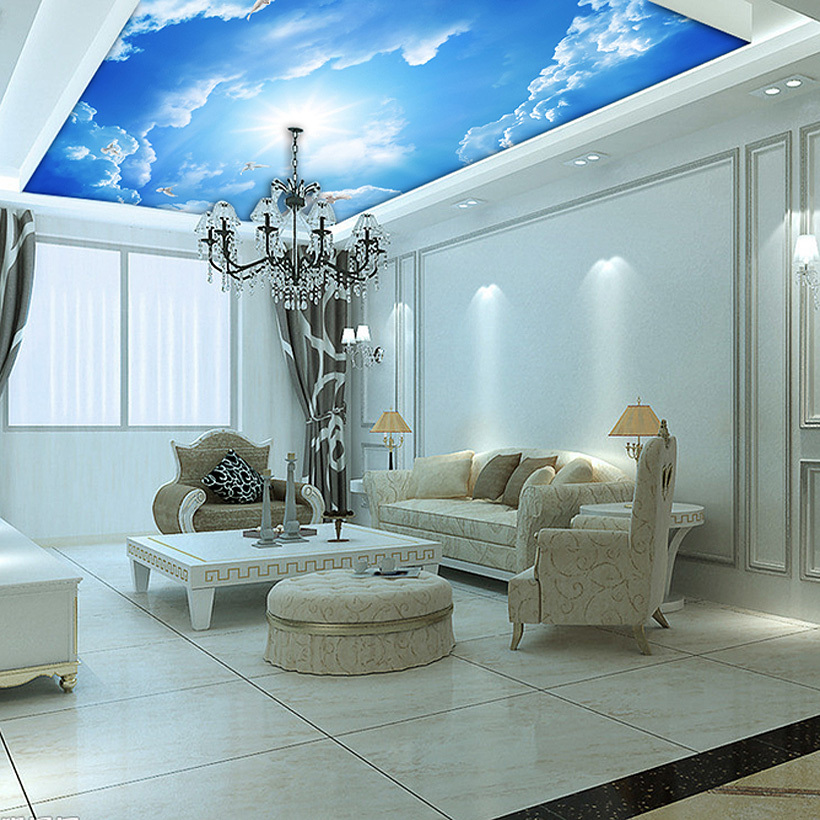 Custom murals 3d blue sky ceiling wallpaper mural wall - Cost to paint interior walls and ceilings ...