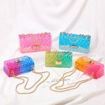 Women Clear Colorful PVC Transparent jelly Bag Gradient Candy Color Crossbody Bags Designed Ladies Shoulder Chain Messenger Bag