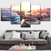 Top-Rated Canvas Printed Paintings Modular Style 5 Pieces Mass Effect Game Normandy SR-2 Poster Wall Art Home Decorative