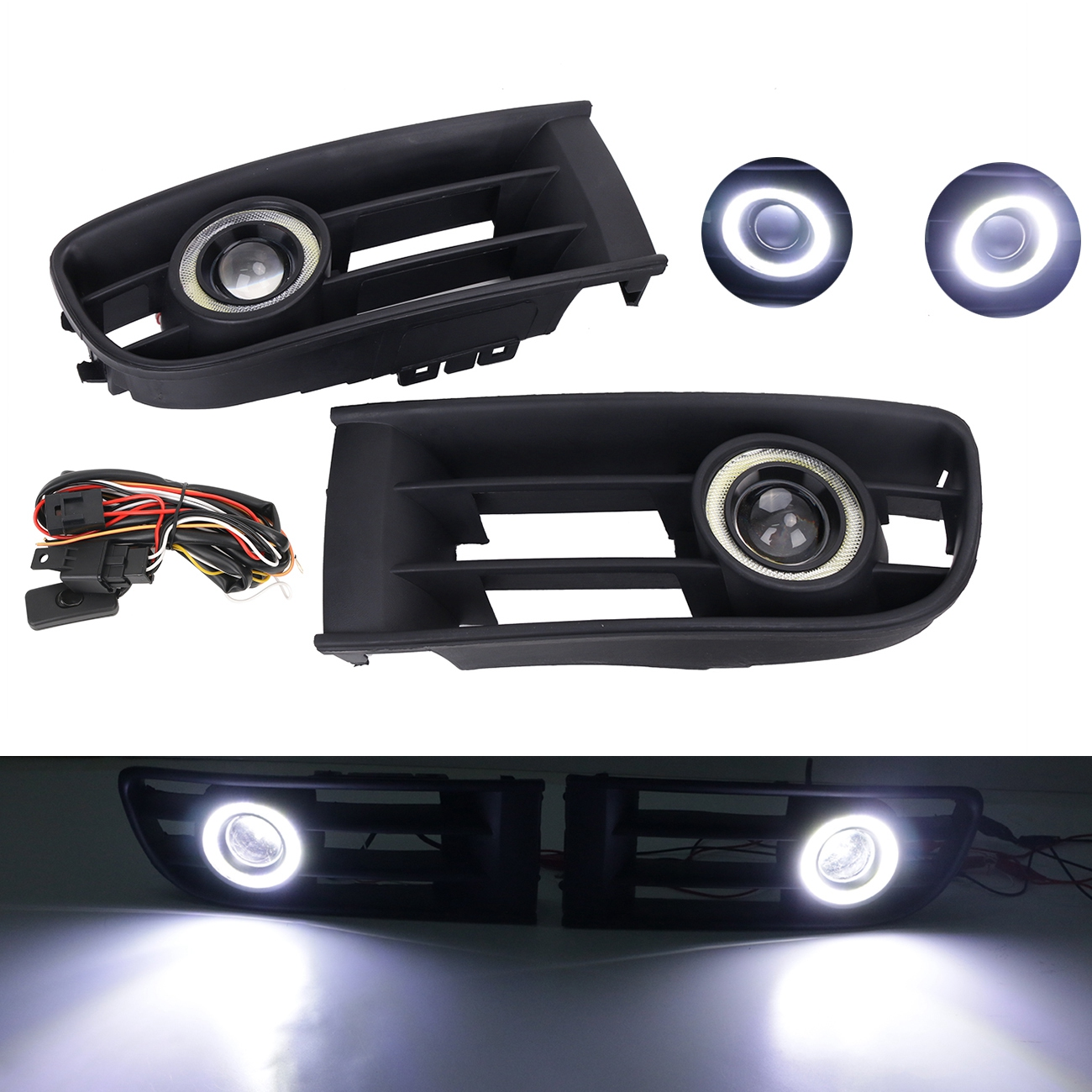 Front Bumper Fog Lamp Grille LED Convex lens Fog Light Angel Eyes For VW Polo 2001 2002 2003 2004 2005 DRL Car Accessory #P364 wisengear front bumper grille fog light angel eyes led lamp with wiring switch kit for mitsubishi lancer 2008 2015 c 5