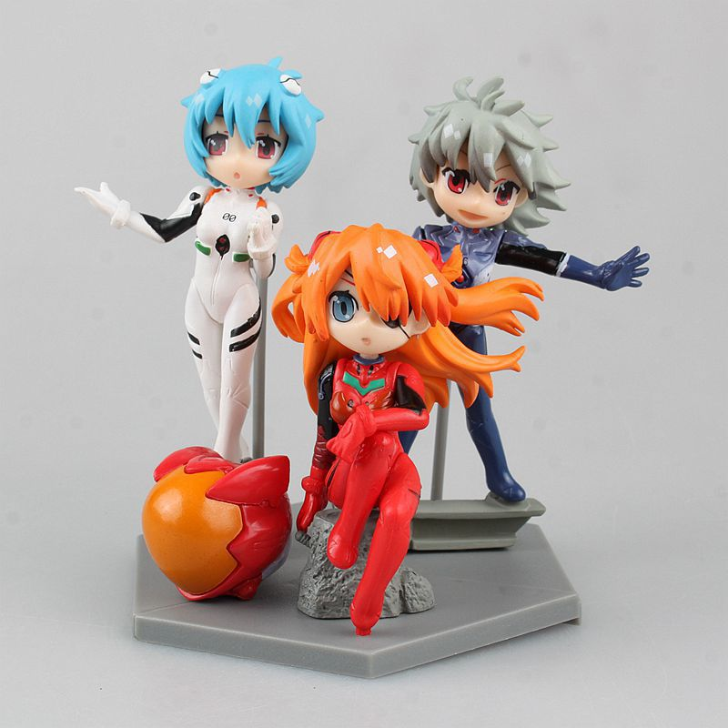 Ева Евангелион 3 шт./компл. Ayanami Rei Сорю Аска Лэнгли Нагиса Каору ПВХ фигурку Коллекционная модель игрушки