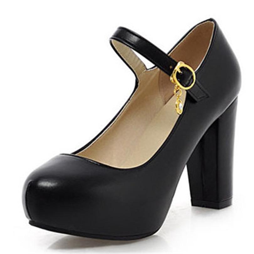 ФОТО Trend Women Pumps Fashion Mary Janes High Heels Round Toe Spring Autumn Prom Wedding Shoes Womens Platform Pumps