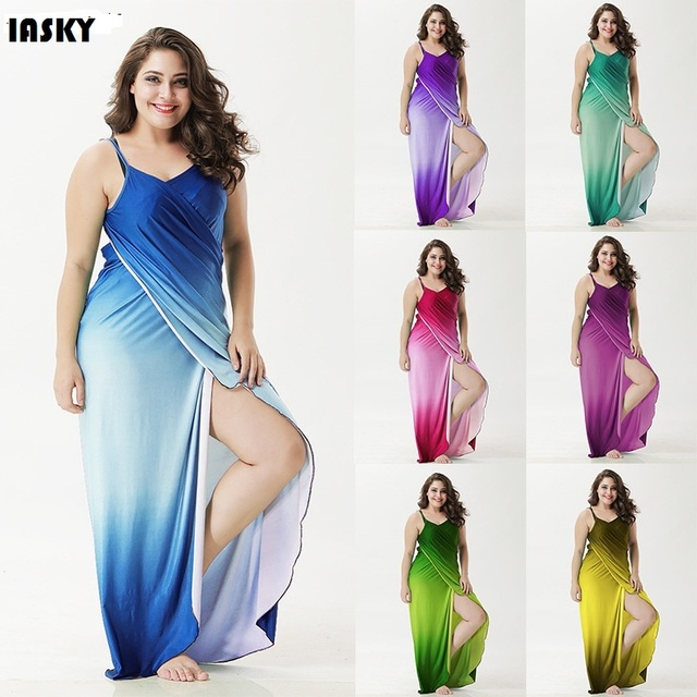 IASKY Plus size Cover Up Robe Plage Gradient color Beach Long Dress ...