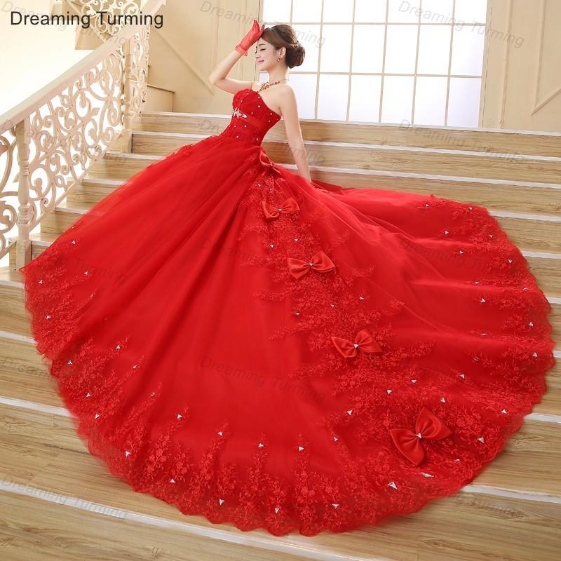 Offre spéciale robes de mariée blanc rouge cathédrale chérie sans manches Appliques perlées longue grande taille robes de mariée Train Royal
