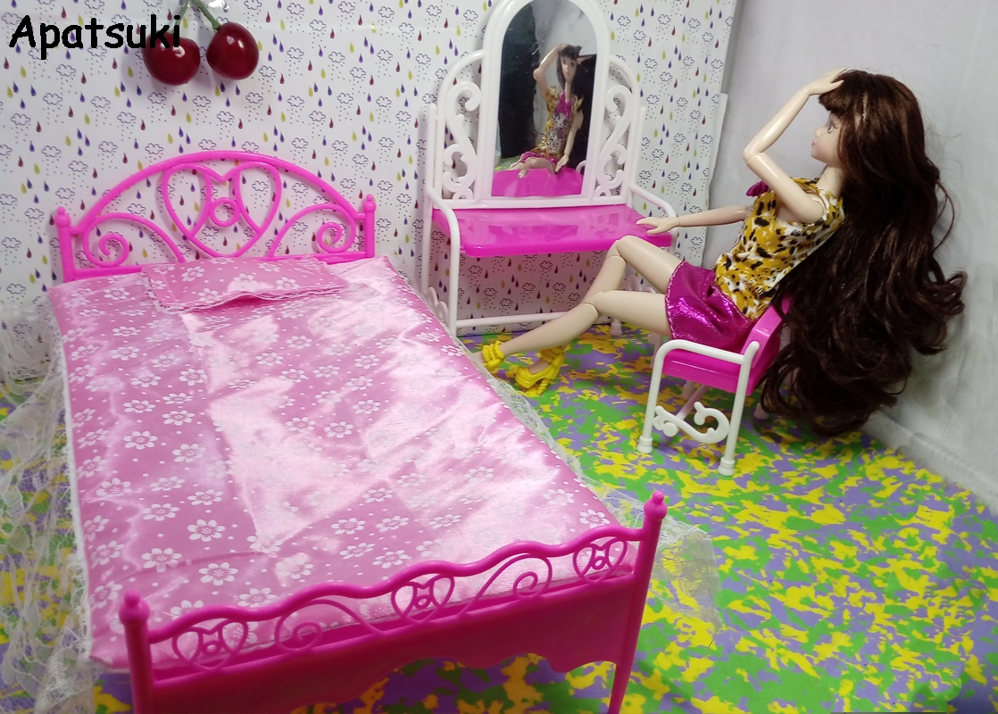 Doll Accessories Girls Play House Toys Big Bed & Dresser Dressing Table with Chair Doll House Furniture For Barbie Doll Toy Gift