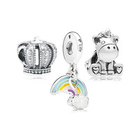 Regal Fairytale Beads Sets Royal Crown Unicorn Colorful Rainbow Silver 925 Jewelry For Charms Bracelets DIY Beaded Charm Pack