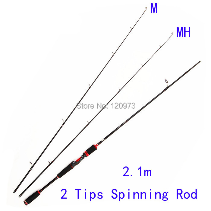 Free Shipping 2.1m 2 Tips M+MH Spinning Fishing Rod Lure Rod 2 Sections Carbon Rod Pesca Fishing Tackles sesknight new double tips 2 1 meters m mh 4 18g lure fishing rod 98
