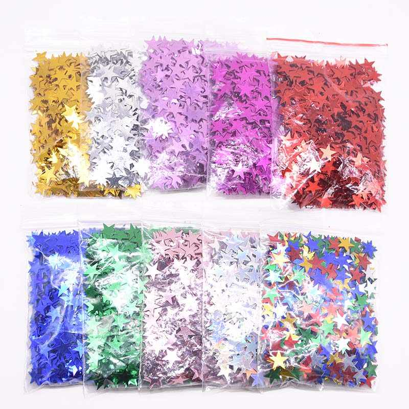 6mm/10mm Colorful Stars Table Confetti Sprinkles Birthday Party Wedding Decoration Sparkle Foil Metallic Stars Confetti Supplies
