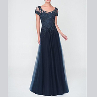 A line Navy Blue Scoop Appliques Tulle Full Length Women's Dresses mother of the bride gowns 2019