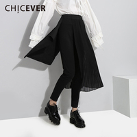 CHICEVER 2018 Spring High Wiast Trousers For Women Patchwork Chiffon Black Pleated Ankle Length Pencil Pants