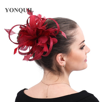 Chic fancy feather flower wedding headwear cocltail wedding women fascinators hat hair clip bride show derby headdress headband фото