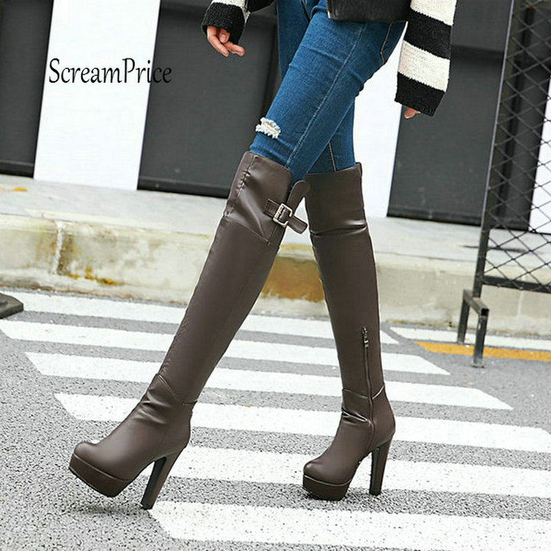 Platform Chunky High Heel Over The Knee Boots Fashion Side Zipper Buckle Thigh Boots Winter Women Shoes Plus Size 43 Black Brown стоимость