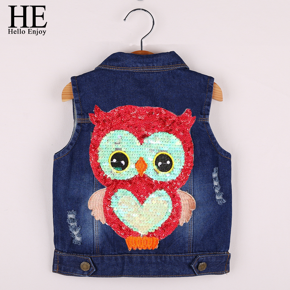 HE Hello Enjoy Kids Clothes Girls spring jackets Coat Cartoon Children Clothing Toddler Girl Vest Outerwear Autumn Owl Denim2018