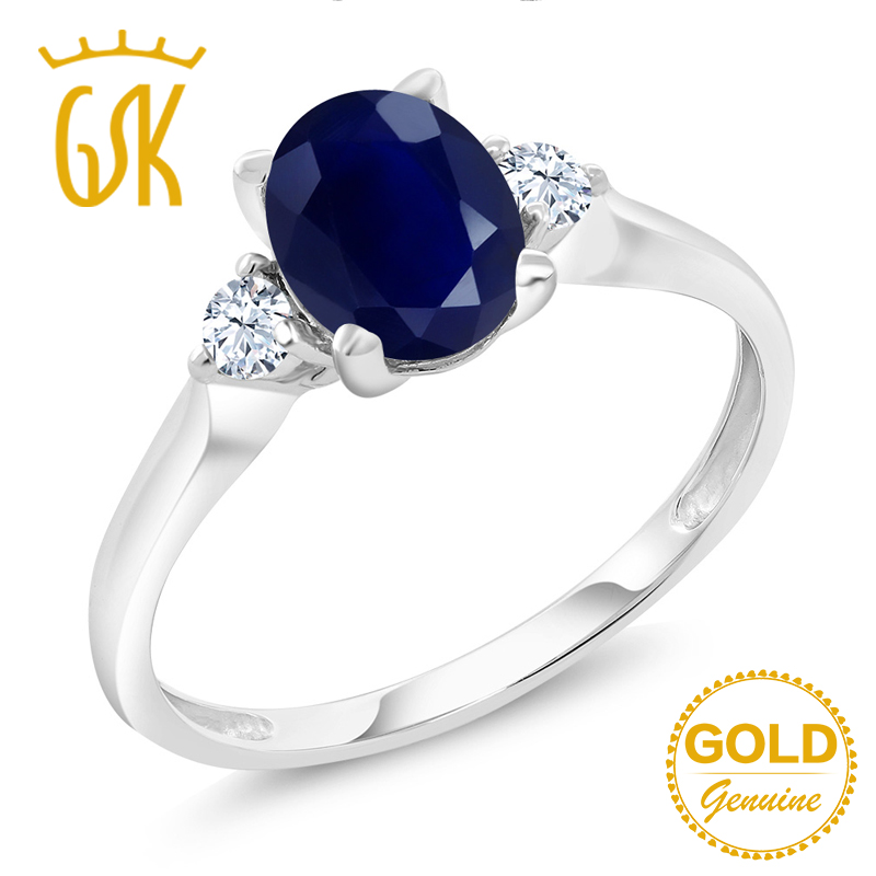 GemStoneKing  1.89Ct Natural Blue Sapphire White Created Sapphire Gemstone Engagement Ring 10K White Gold Fine Jewelry For Women