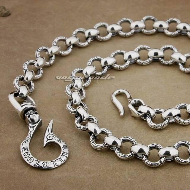 """12"""" ~ 36"""" Lengths 925 Sterling Silver Huge & Heavy Fashion Biker Rocker Punk Wallet Chain 8F001WC2(8J016)"""