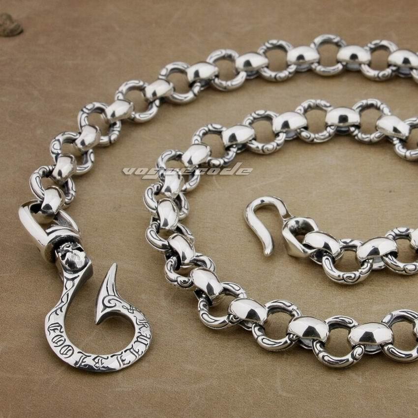 12 36 Lengths 925 Sterling Silver Huge Heavy Fashion Biker Rocker Punk font b Wallet b