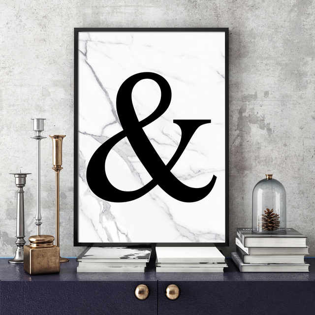 Abstract Marble Ampersand Wall Art Canvas Painting Nordic Posters ...